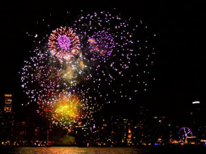 Navy Pier Fireworks Show during private sailing charter in Chicago